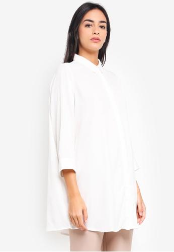 Vero Moda white Sanne 3/4 Long Shirt BFAE5AAFFCA3B4GS_1