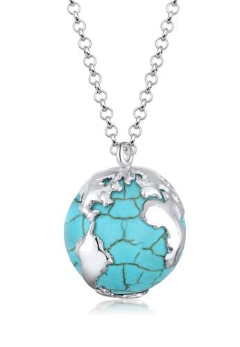 Elli Germany blue 925 Sterling Silver Howlite Globe Necklace EL474AC10GNDMY_1