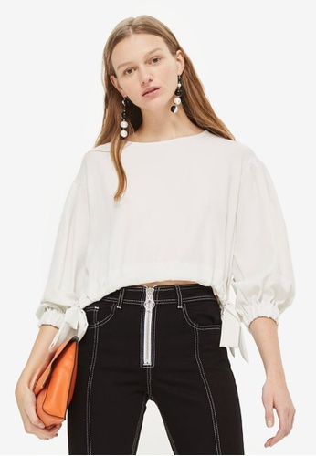 TOPSHOP white Tie Hem Soft Blouse 939B4AA5487A9BGS_1