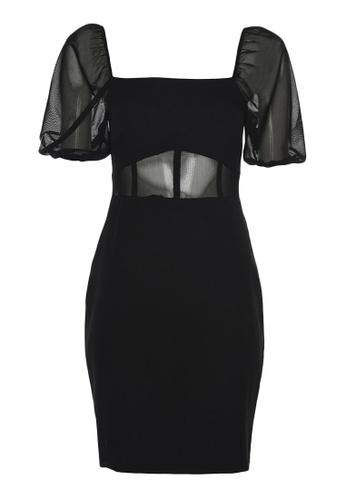 Trendyol black Tulle Puff Sleeve Underwire Dress 6D50BAA1D9F1C4GS_1