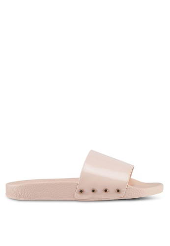 Dune London beige Stud Slider Sandals 71142SHA5B2601GS_1