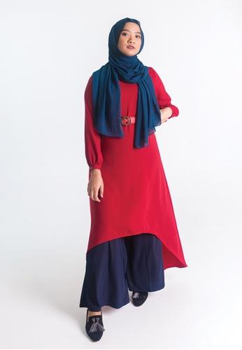 Zaryluq red Hi-Lo Dress in Crushed Burgundy F13D8AAB5C314EGS_1