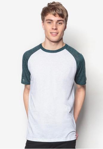 撞色esprit 鞋拉克蘭袖TEE, 服飾, 素色T恤