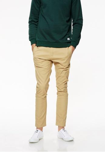 Life8 brown Heavy Weight Slim Fit Trouser Pants-02424-Khaki LI283AA0FU9USG_1