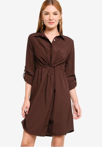 ZALORA WORK brown Knotted Detail Shirt Dress 7CA8CAA7748B3DGS_1