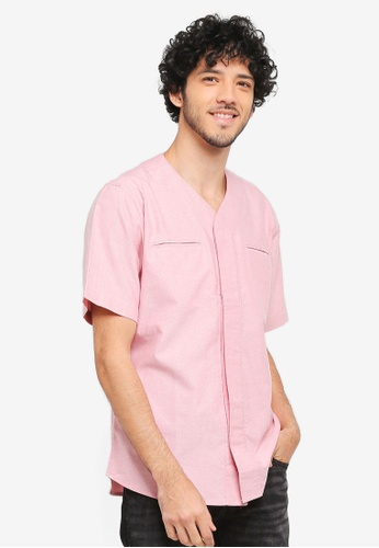 ZALORA red Baseball Collar Shirt A6A7DAA6F05D6DGS_1