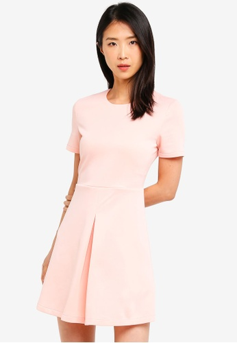 ZALORA BASICS pink Basic Short Sleeves Pleat Details Dress 0C70EAAF387E75GS_1