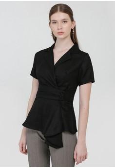 c764eea5275e55 Cloth Inc black Overlap Drapery Top in Black 29F45AA7D6640AGS_1