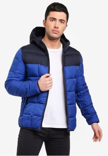 MANGO Man 藍色 連帽菱格紋大衣 973F7AAA2853EDGS_1