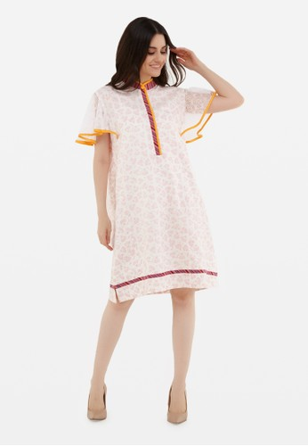 Kimore Studio white and pink Midi Dress - Batik - Soft Pink with Lace 0BE56AAF68833AGS_1