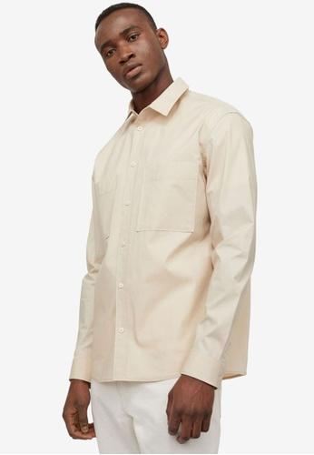 H&M beige Regular Fit Cotton Shirt 78A6FAAE1A74B3GS_1