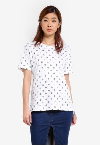UniqTee white Polka Dot Printed T-Shirt UN097AA0S22RMY_1