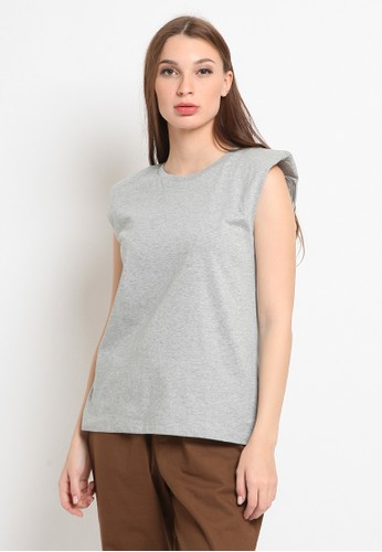 et cetera grey Sleveeless T-shirt with Shoulder Pads AD81DAA920B95FGS_1