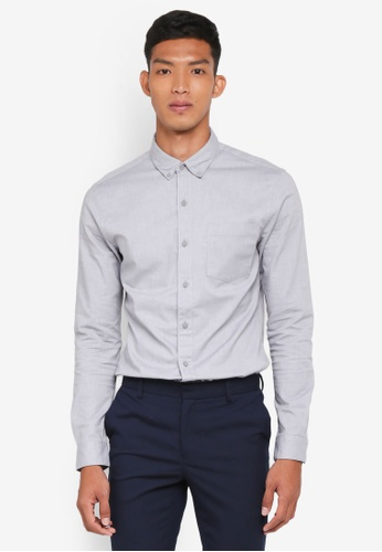 Topman grey Grey Muscle Fit Oxford Shirt D8341AAC71EEA0GS_1