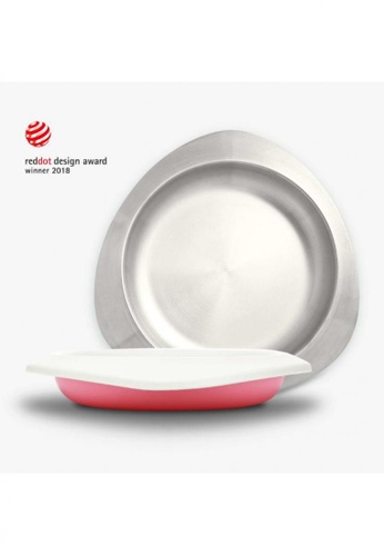 Viida [VIIDA] The Soufflé Kids Antibacterial Stainless Steel Plate with Lid 550ml/18.6oz , Taffy Pink - Eco-Friendly, Safe, FDA Certified, SGS Tested 28E27HL982E6BEGS_1