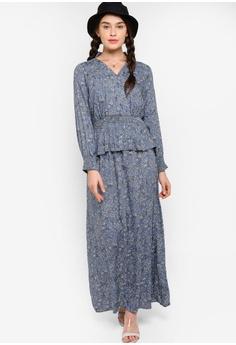 66fda2aa3845 Lubna white and blue Smock Waist Dress 73403AAC36EFC9GS_1