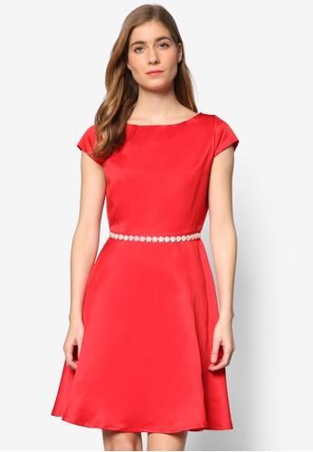 Destiny 貝zalora 鞋評價殼腰帶蓋袖連身裙, 服飾, 正式洋裝