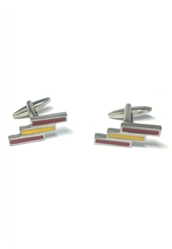 Splice Cufflinks silver Red and Yellow Staggered Lines Cufflinks SP744AC37FSGSG_1