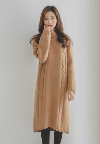 高領編織連衣裙, 服飾, 及膝esprit香港門市洋裝
