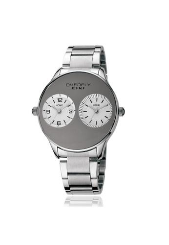 Eyki white and silver Eyki Overfly W8491 Dual Time Zone S.Steel Watch (Silver White) EY078AC35RMAMY_1