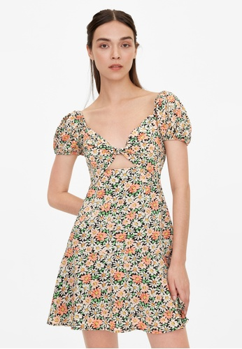 Pomelo black Floral Sweetheart Cut Out Dress - Black 17248AA2AC7023GS_1