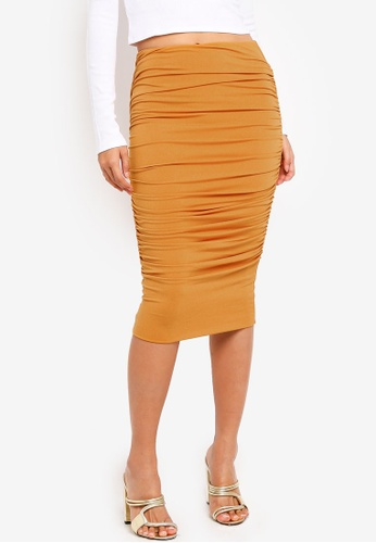 Supre yellow Luxe Gathered Midi Skirt C213DAAD7410A5GS_1