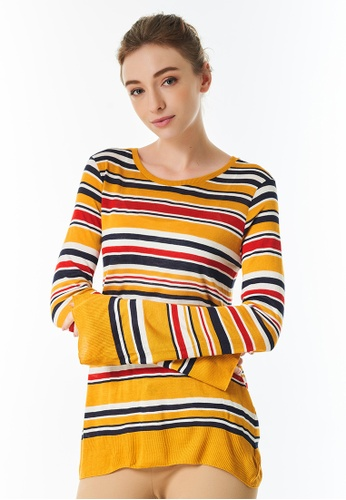 United Colors of Benetton yellow Striped T-shirt 892A0AA2A96265GS_1