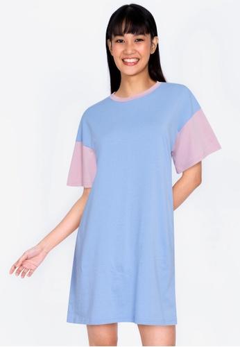 ZALORA BASICS multi Contrast Blocked T-shirt Dress A62E6AA1059D35GS_1