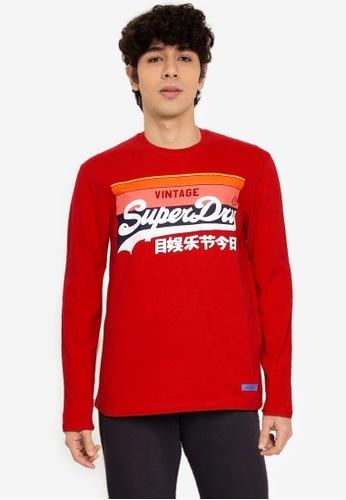 Superdry red Vintage Logo Cali Stripe Long Sleeve Top - Original & Vintage 445E3AA20CF497GS_1