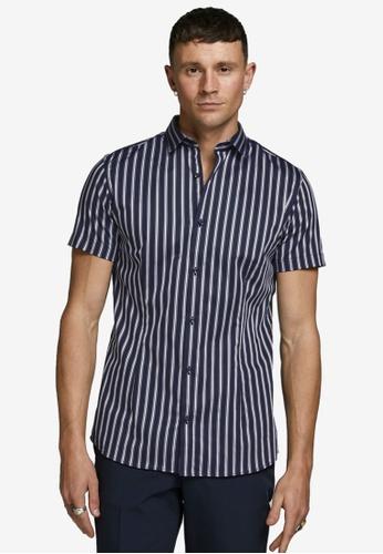 Jack & Jones 海軍藍色 Parma Stripe Short Sleeves Shirt A1808AA23F3C0AGS_1