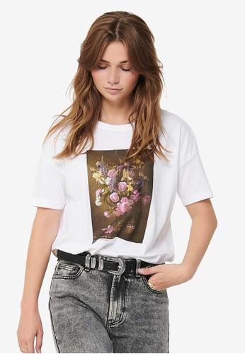 ONLY white Flora Short Sleeve Flower Box Top 6A1FFAAC4A5850GS_1