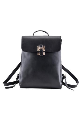 Vince black Women PU Leather Shoulder Bag Travel Dating Backpacks Schoolbags(Black) FL898AC56VUPMY_1