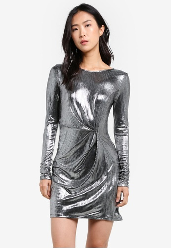 Miss Selfridge silver Silver Foiled Mini Shift Dress MI665AA0S2KVMY_1
