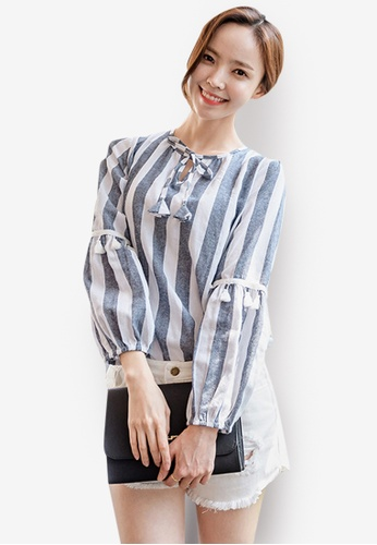 Sunnydaysweety multi Striped Printed Ladies Shirt 3EC49AAECBE901GS_1