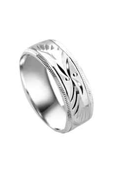 Feather cut Couple Ring