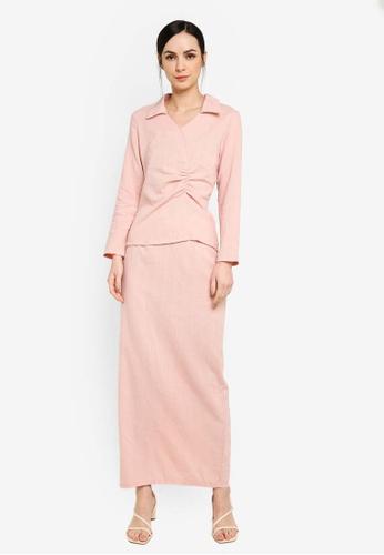 Zalia pink Collar Kurung with Side Gathered 8817FAAE120E32GS_1