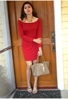 Elegant Off Shoulder Bodycon Long Sleeve - Red