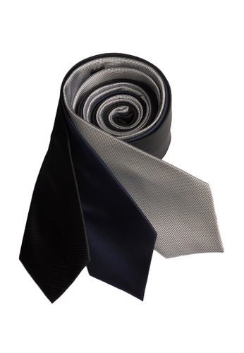 Well Suited black and blue and silver Three Piece Microcheck Necktie Combo 2 3939DAC0C28177GS_1