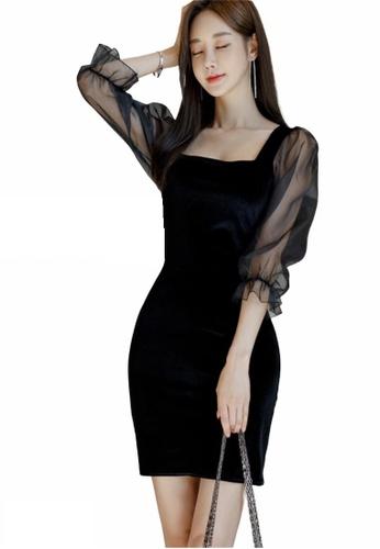 Crystal Korea Fashion black Korean velvet puff sleeve party dress 425D4AABF8076FGS_1