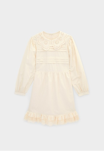 Pomelo beige Scallop Collar Dress - Cream BF7D6AA8F502ECGS_1