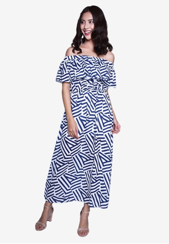 Caoros blue Off Shoulder Tropical Print Dress 058CEAA91DE8A5GS_1