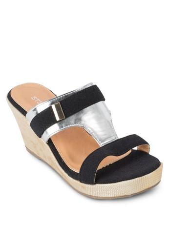 雙esprit hk色寬帶楔形鞋, 女鞋, 鞋