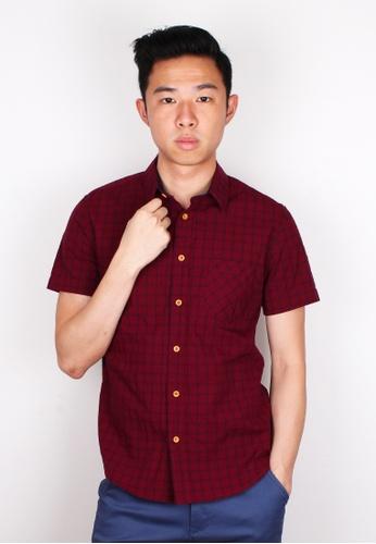 Moley red Textured Checked Short Sleeve Shirt MO329AA86UXLSG_1
