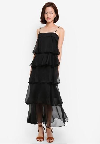 ZALORA black Multi Tiered Maxi Dress 4C51AAA0737E42GS_1
