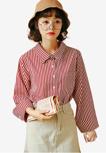 Shopsfashion red Flare Sleeve Shirt C35F1AAE21DFA4GS_1