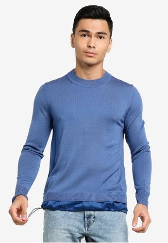 ck Calvin Klein blue MERINO CREW TOP WITH METAL LOGO AE618AA62390FFGS_1