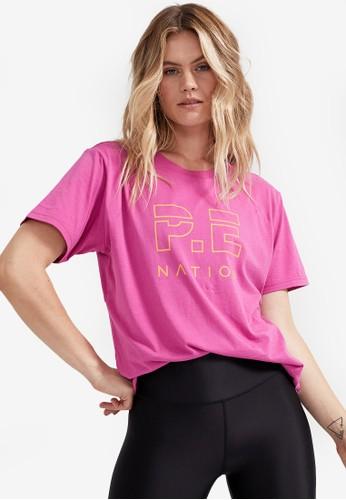 P.E Nation pink Heads Up Tee 05FFCAAC936A51GS_1