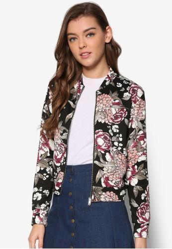 花卉印花棒球外套,esprit台灣官網 服飾, 棒球外套