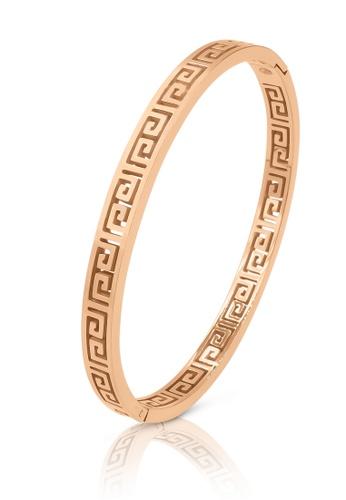 SO SEOUL gold Greek Meander Key Rose Gold Hinged Bangle 422B2ACCBCFA49GS_1