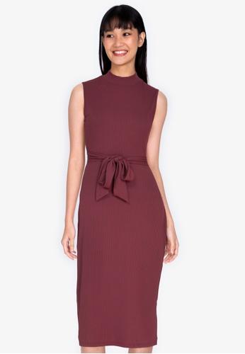 ZALORA BASICS red Turtle-Neck Midi Dress BCCAEAA8BB4FFEGS_1